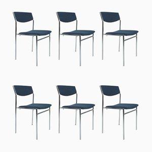 Blaue Esszimmerstühle von Gus Van Der Sluis, 6er Set