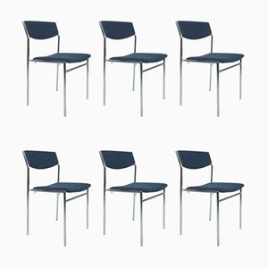 Blue Dining Chairs by Gus Van Der Sluis, Set of 6
