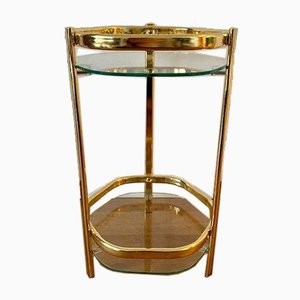 Golden Flower Stool with 2 Glass Trays, 1970s