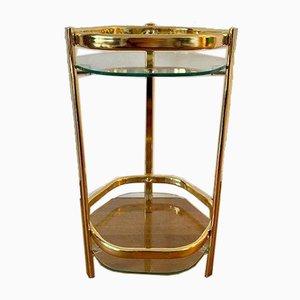 Taburete dorado con dos bandejas de vidrio, años 70
