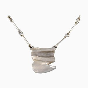Lapponia, Finland, Modernist Necklace in Sterling Silver with Pendant