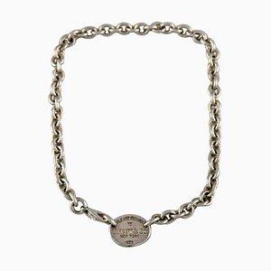 Lapponia, Finlandia, modernista collar en plata de ley con el collar pendiente