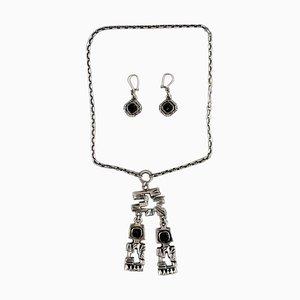 Pentti Sarpaneva, Finnland, modernistische Halskette in Silber mit passenden Ohrringen