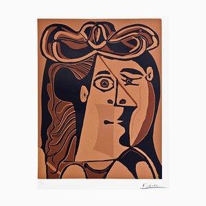 Linograbado original de Pablo Picasso - mujer con sombrero - 1962