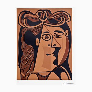 Pablo Picasso - Woman with Hat - Original Linocut - 1962