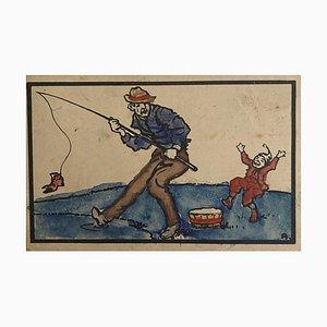 Inconnu - le pêcheur - dessin aquarelle original - années 1920