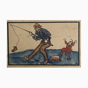 Unknown - the Fisherman - Original Watercolor Drawing - 1920s