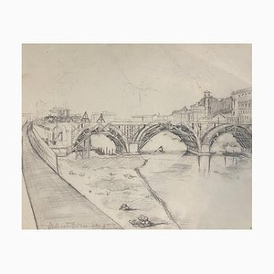 Ildebrando Urbani - Landscape - Original Pencil Drawing - Mid-20th Century