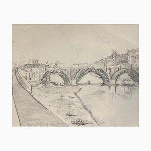 Ildebrando Urbani - Paisaje - Dibujo original a lápiz - Mediados del siglo XX