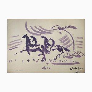 Antonio Vangelli - Caballos y jinetes - Acuarela original - 1948