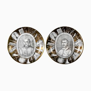Grandi Maestri Plates by P. Fornasetti, 1967, Set of 2