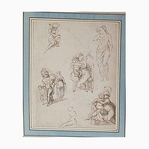 Inconnu - Figure - Dessin original à l'encre - 19e siècle