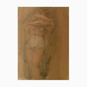 Odilon Roche - Figura desnuda - Acuarela y lápiz original - 1940