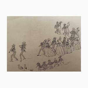 Leon Petit - Marriage - Original China Ink Drawing - Early 20th Century