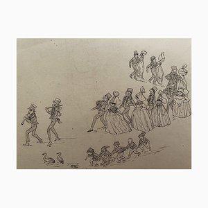 Leon Petit - Matrimonio - Dibujo en tinta china original - Principios del siglo XX