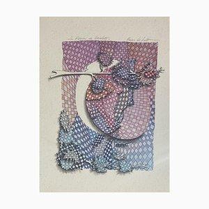 Nevio De Zolt - La Rocca Di Spoleto - Originale Tinte und Wasserfarbe - 20. Jahrhundert