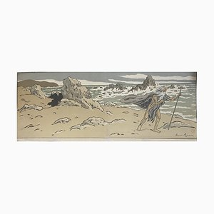 Henri Riviere - Der alte Mann und das Meer - Original Holzschnitt - frühes 20. Jahrhundert