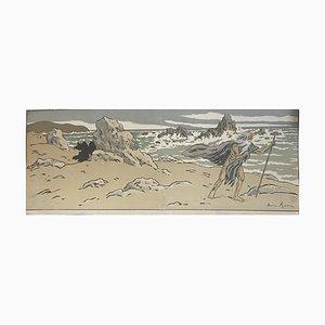 Henri Rivière - le vieil homme et la mer - gravure sur bois originale - début du 20e siècle