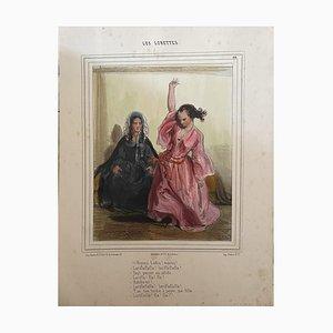 Inconnu - Les Lorettes - Lithographie originale - 19e siècle
