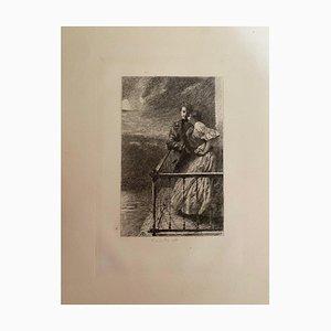 R. De Los Rios - les nouveaux mariés - Gravure originale - Début du XXe siècle