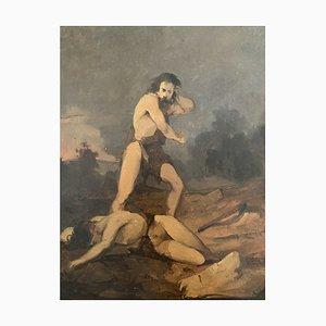 Desconocido - Caín y Abel - Pinturas al óleo originales - Principios del siglo XX