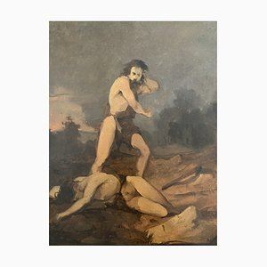 Sconosciuto - Cain e Abel - Original Oil Paintings - Early 20th Century