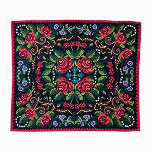 Tapis tissé à la main en laine colorée et motif floral Kilim Bessarabian Moldavan