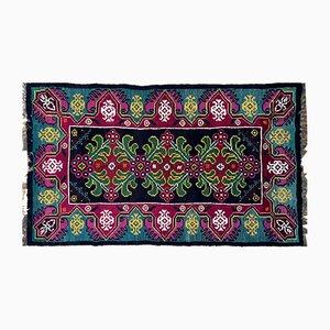 Moldavian Handwoven Wool Rug in Magenta, Green & Turquoise