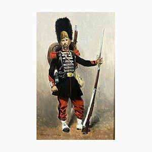 Sergente edouard, scuola di francese, 1º reggimento di fanteria della Guardia imperiale, olio su tavola