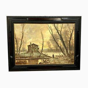 Ettore Percivaldi, école italienne, un paysage d'hiver animé, grande huile sur panneau