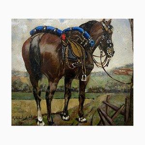 Chuliot G, Ecole française, cheval attelé, 1942, huile sur carton