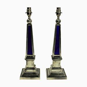 Lampes de Bureau Obélisque Vintage en Plaqué Argent et Verre Bleu, Set de 2