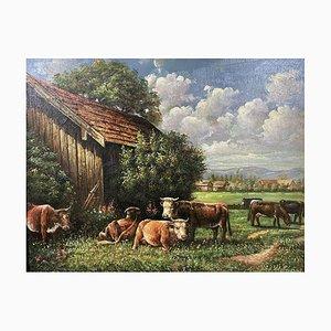 Cédan, escuela francesa, A Cow Herd, 1944, óleo sobre lienzo