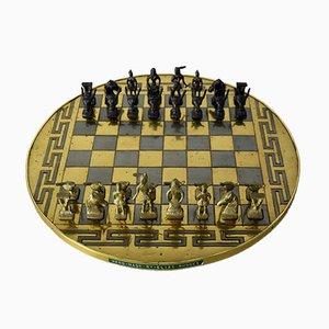 Jeu d'échecs en laiton artisanal grec vintage