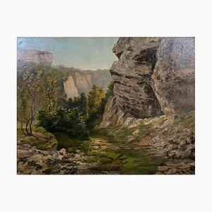 Gauthier, Französische Schule, Landschaft, 1940er, Großes Öl auf Leinwand