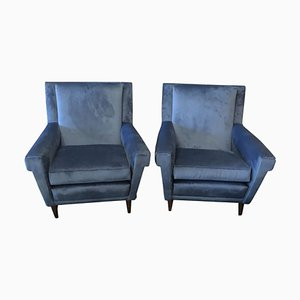 Blue Velvet Italian Armchairs, 1960s, Set of 2