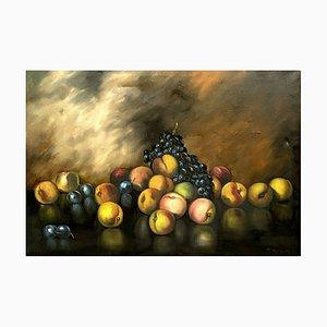 Piero Nardi, Ecole Italienne, Nature Morte de Fruits, 1938, Grande Huile sur Toile