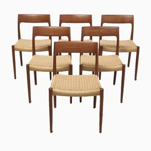 Mid-Century Model 77 Dining Chairs by Niels Otto Møller for J.L. Møllers Møbelfabrik, Denmark, Set of 6