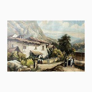 Hubert, Escuela de francés, Paisaje de montaña animado, 1929, Acuarela