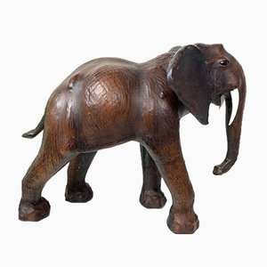Vintage Leather Elephant Sculpture