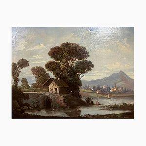 Durand, Ecole française, un paysage animé, huile sur toile