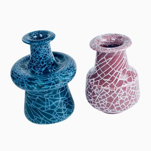 Cracked Glazed Vases by Gunnar Andersson for Höganäs, 1980s, Set of 2