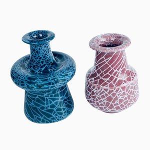 Vases Cracked Glazed par Gunnar Andersson pour Höganäs, 1980s, Set de 2