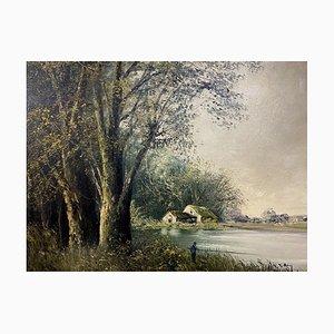 Henry, French School, a Fisherman's Line, inizio XX secolo, olio su tela