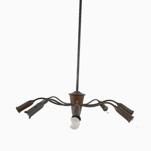 Mid-Century Brass Spider Multi Arm Chandelier