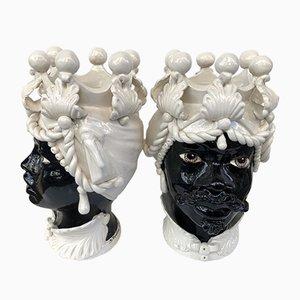 Keramikköpfe aus Caltagiron, 2er-Set