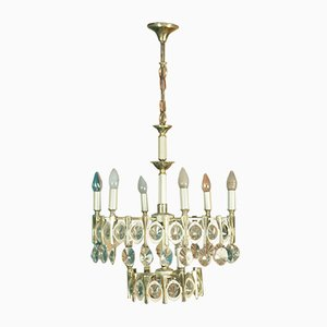 Glass Chandelier by Gaetano Sciolari, 1970s