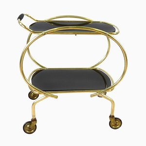 Art Deco Glass 2-Tier Serving Bar Cart, 1960s