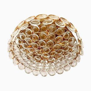 Jewel Brass and Crystal Flush Light from Palwa, 1960s