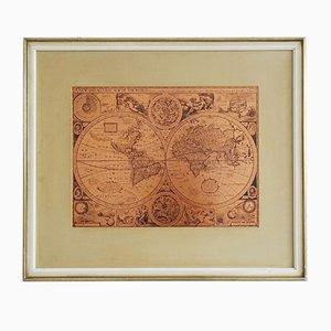 Carte du monde en cuivre encadrée, 1950s